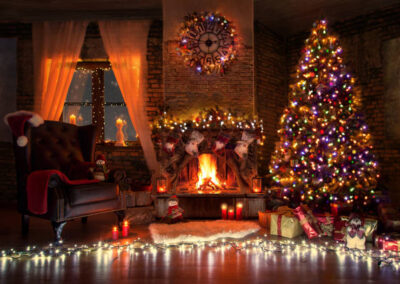 Beautiful living room with fire place decorated for christmas